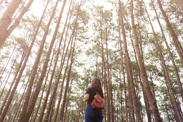 Viajero mujer toma una fotografía en la naturaleza