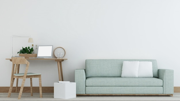 La vida interior mínima en el apartamento y el estilo de fondo 3d rendering