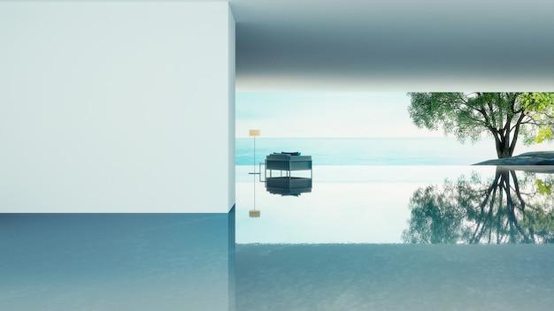 Vida en la playa: vista al mar y al mar de la villa del océano para vacaciones y verano / renderizado 3d