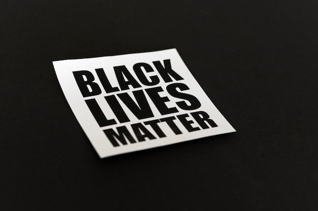 Las vidas negras importan concepto alto ángulo