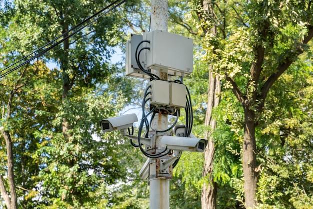 Video vigilancia, sistema de seguridad con múltiples cámaras en el parque.