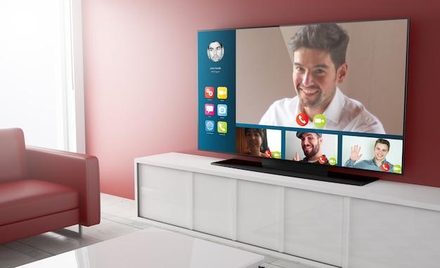 Videoconferencia en smart tv en una sala de estar. representación 3d.