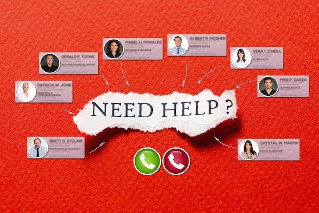 La videollamada grupal con un fondo con el mensaje necesita ayuda