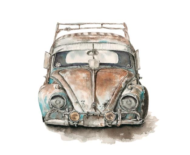 Vieja ilustración de acuarela de coche no funciona roto oxidado