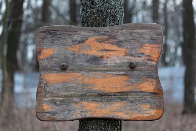 Viejo cartel de madera en el árbol. superficie de madera áspera rayada. copia espacio