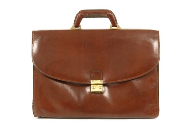 Viejo maletín de cuero marrón