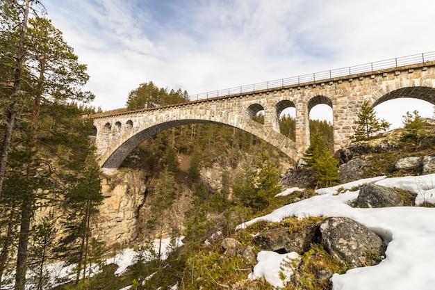 El viejo puente del tren, el puente de jora, en dombaas, noruega