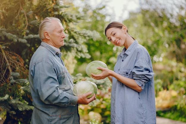 Viejo senior de pie en un jardín de verano con repollo
