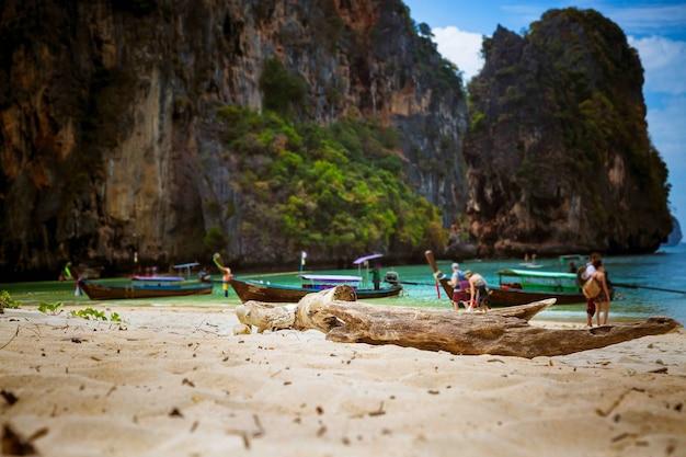 Un viejo tronco seco se encuentra en una playa tropical en la arena de los barcos de cola larga y las rocas a pie de turistas