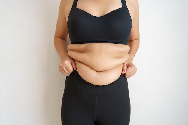 Vientre de grasa corporal de las mujeres. mano de mujer obesa con exceso de grasa abdominal.