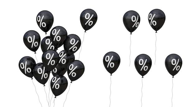 Viernes negro. globos negros y símbolo de porcentaje. aislado sobre fondo blanco. render 3d