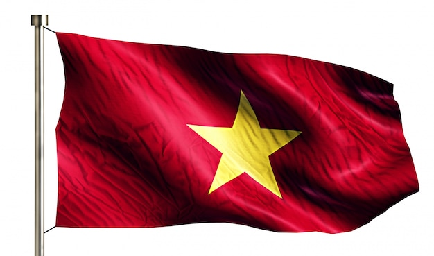 Vietnam bandera nacional aislado fondo blanco 3d