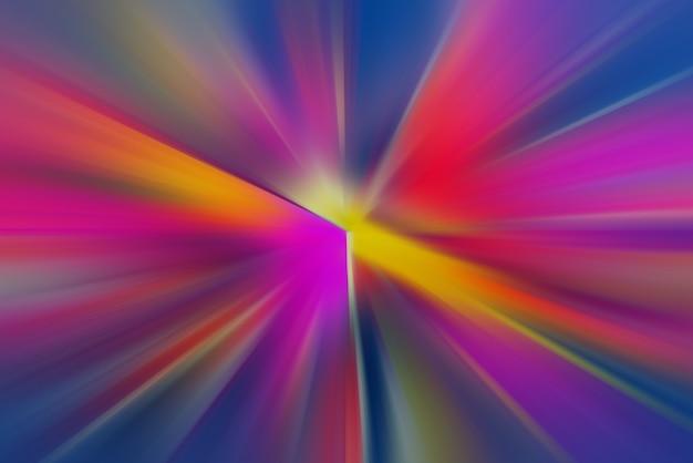 Vigas multicolores dinámicas. un destello en el espacio entrando en perspectiva.