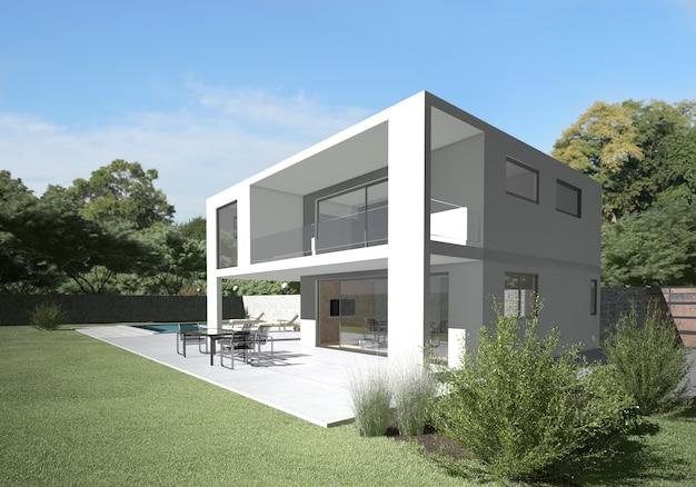 Villa moderna con terraza y jardín