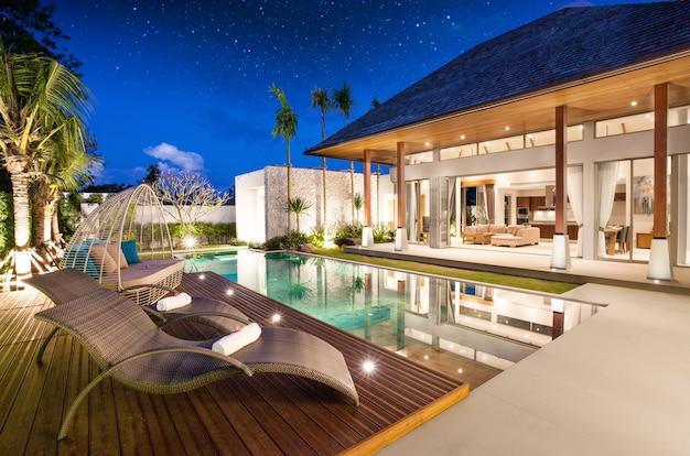 Villa con piscina de diseño interior y exterior de lujo con sala de estar