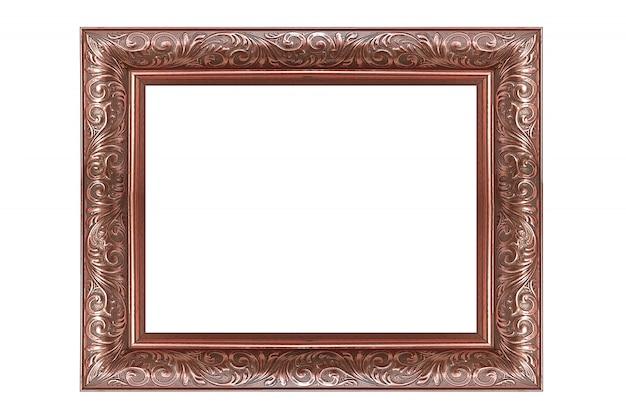 Vintage cuadro de oro rosa y marco de fotos aislado sobre fondo blanco.