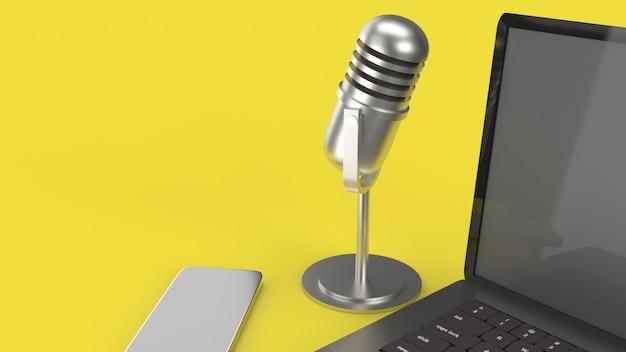 Vintage mic notebook y smartphone representación 3d para contenido de podcast.