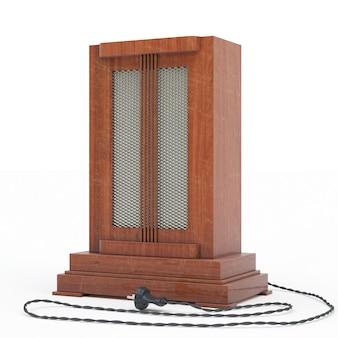 Vintage receptor de radio closeup, representación 3d aislada