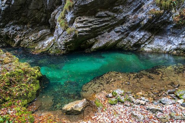 Vintgar gorge en eslovenia con agua de río turquesa en temporada de otoño
