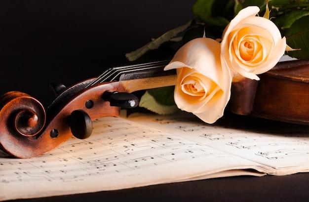 Violín con partituras y rosas blancas sobre fondo negro