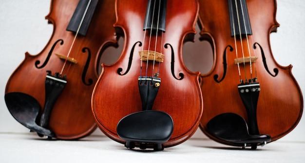 El violín triple puesto en el fondo