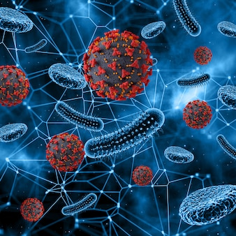 Virus abstracto y células sanguíneas