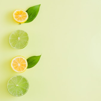 Visa superior fila de limones