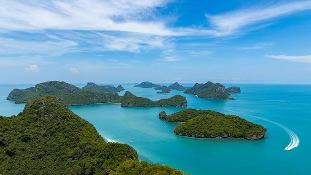 Visión aérea mu koh angthong view point, surat thani, sur de tailandia.