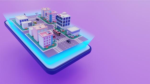 Vista 3d de edificios a lo largo de la calle de transporte en la pantalla del teléfono inteligente sobre fondo púrpura.