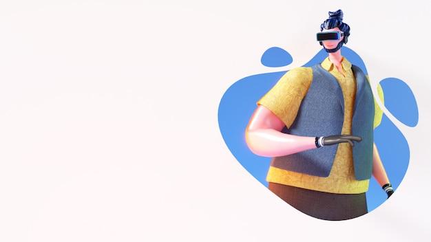 Vista 3d del personaje del hombre con gafas vr sobre fondo abstracto