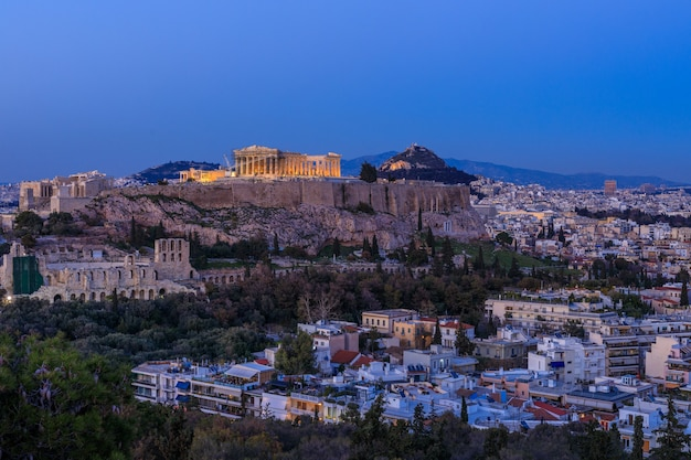 Vista de la acrópolis al atardecer atenas grecia