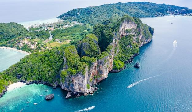 Vista aérea aérea vista superior phi phi isla kra bi tailandia hola temporada