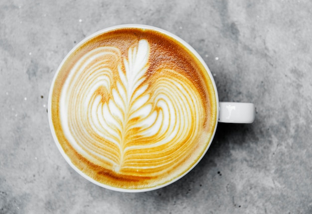 Vista aérea del arte del latte