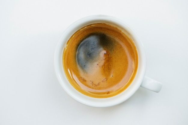 Vista aérea de café caliente