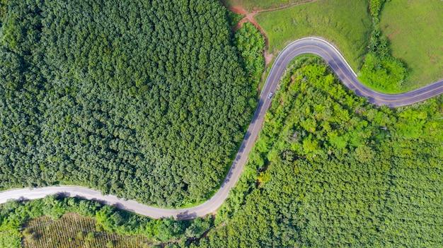 Vista aérea del camino rural en zona rural, vista desde drone