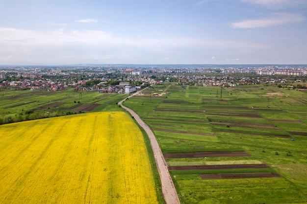 La vista aérea del camino de tierra con los coches móviles en campos verdes con las plantas florecientes de la colza, las casas del suburbio en horizonte y el cielo azul copian el fondo del espacio. fotografía de drones.
