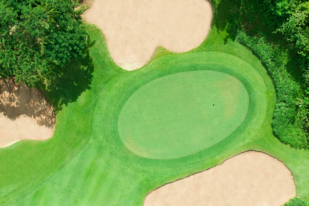 Vista aérea del campo de golf.