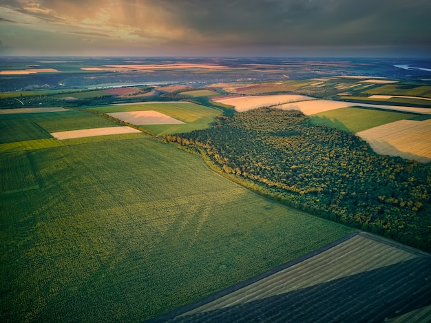 Vista aérea de los campos agrícolas al atardecer