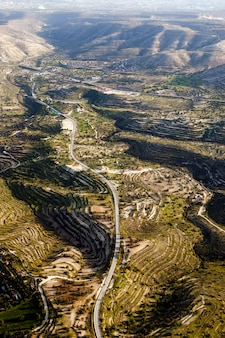 Vista aérea en los campos de la granja