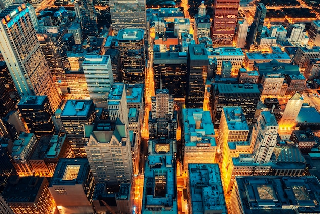 Vista aérea de chicago, naranja y verde azulado posprocesados
