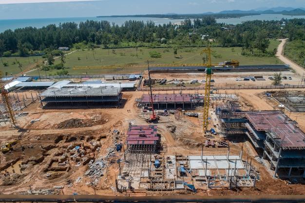 Vista aérea, construcción