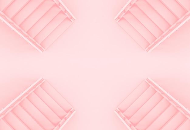 Vista aérea de diferente dirección de color rosa fondo de escaleras de color.