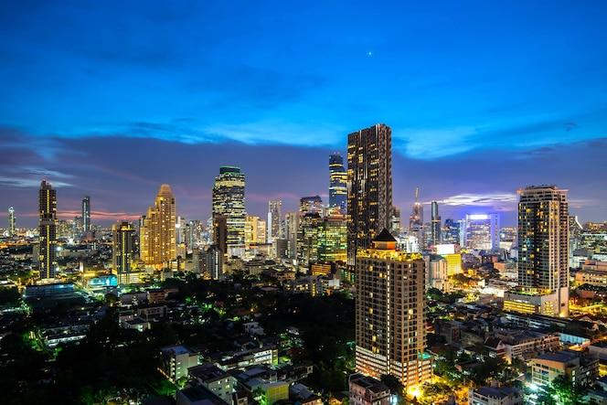 Vista aérea hermosa puesta de sol paisaje urbano de bangkok ciudad horizonte bangkok tailandia