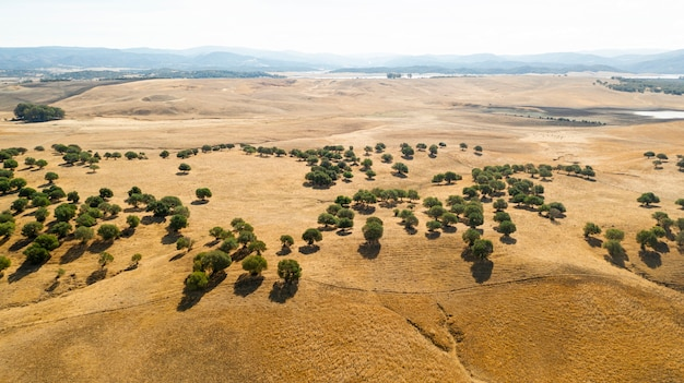 Vista aérea de hermosas colinas
