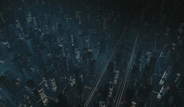 Vista aérea de la mega ciudad de noche