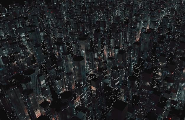Vista aérea de la mega ciudad de noche.