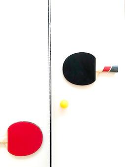 Vista aérea de la mesa de ping pong.