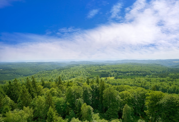 Vista aérea de las montañas de harz alemania