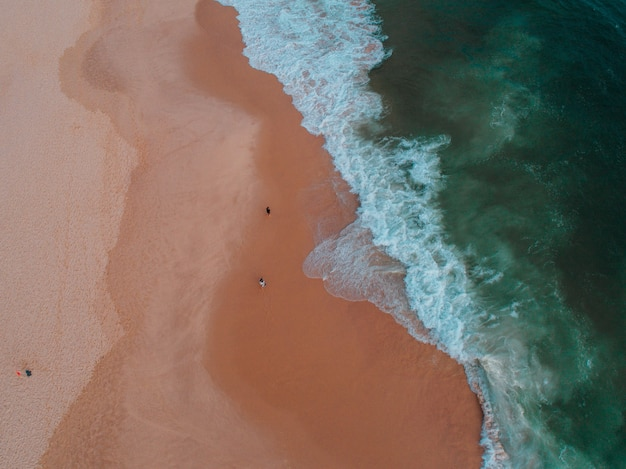 Vista aérea de la orilla del mar con varias personas en ella