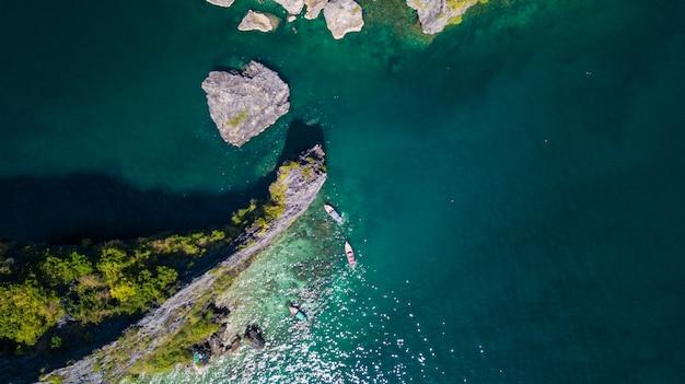 Vista aérea del paisaje de la isla.